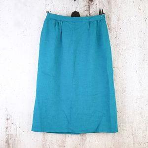 Vintage Pendleton Turquoise Blue Pencil Skirt